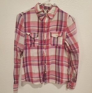 FOREVER 21 BUTTON DOWN PLAID LONG SLEEVE SHIRT S